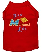 Mermaid Life Embroidered Dog Shirt Red Sm