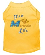 Mermaid Life Embroidered Dog Shirt Yellow Sm
