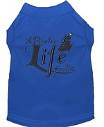 A Pirate's Life Embroidered Dog Shirt Blue Sm (10)