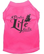 A Pirate's Life Embroidered Dog Shirt Bright Pink Sm (10)
