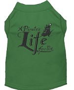 A Pirate's Life Embroidered Dog Shirt Green Sm (10)