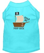 Poop Deck Embroidered Dog Shirt Aqua Sm (10)