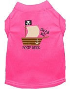 Poop Deck Embroidered Dog Shirt Bright Pink Sm (10)