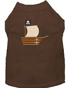 Poop Deck Embroidered Dog Shirt Brown Sm (10)