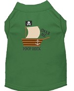 Poop Deck Embroidered Dog Shirt Green Sm (10)