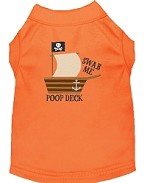 Poop Deck Embroidered Dog Shirt Orange Sm (10)