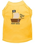 Poop Deck Embroidered Dog Shirt Yellow Sm (10)