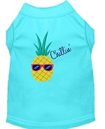 Pineapple Chillin Embroidered Dog Shirt Aqua Sm (10)