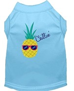 Pineapple Chillin Embroidered Dog Shirt Baby Blue Sm (10)