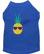Pineapple Chillin Embroidered Dog Shirt Blue Sm (10)