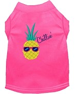 Pineapple Chillin Embroidered Dog Shirt Bright Pink Sm (10)