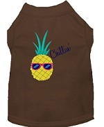 Pineapple Chillin Embroidered Dog Shirt Brown Sm (10)