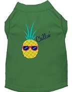 Pineapple Chillin Embroidered Dog Shirt Green Sm (10)