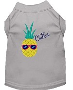 Pineapple Chillin Embroidered Dog Shirt Grey Sm (10)