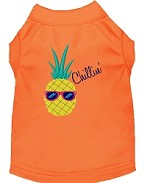 Pineapple Chillin Embroidered Dog Shirt Orange Sm (10)