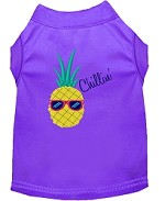 Pineapple Chillin Embroidered Dog Shirt Purple Sm (10)