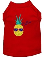 Pineapple Chillin Embroidered Dog Shirt Red Sm (10)