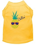 Pineapple Chillin Embroidered Dog Shirt Yellow Sm (10)