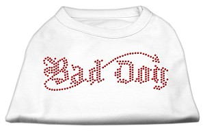 Bad Dog Rhinestone Shirts White XXXL