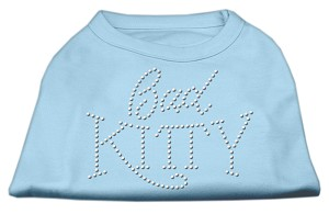 Bad Kitty Rhinestud Shirt Baby Blue S