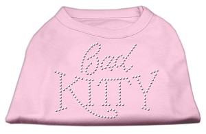 Bad Kitty Rhinestud Shirt Light Pink S
