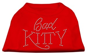 Bad Kitty Rhinestud Shirt Red S