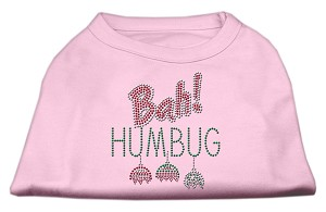 Bah Humbug Rhinestone Dog Shirt Light Pink Lg (14)