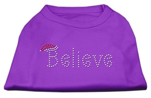 Believe Rhinestone Shirts Purple XL