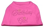 Birthday Girl Rhinestone Shirt Bright Pink XS