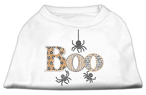 Boo Rhinestone Dog Shirt White Lg (14)