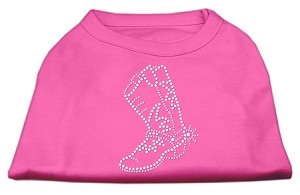 Rhinestone Boot Shirts Bright Pink XS