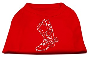 Rhinestone Boot Shirts Red L