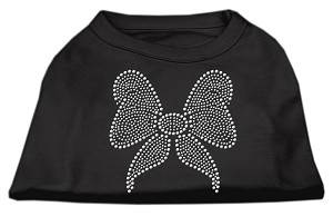 Rhinestone Bow Shirts Black M