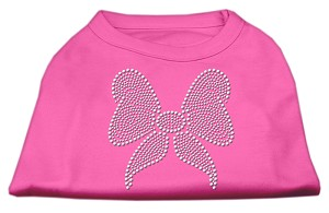 Rhinestone Bow Shirts Bright Pink M (12)