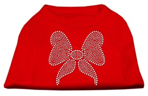 Rhinestone Bow Shirts Red S