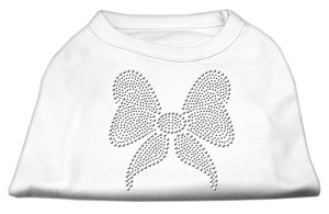 Rhinestone Bow Shirts White M (12)