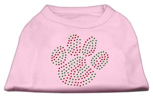 Holiday Paw Rhinestone Shirts Light Pink XXL (18)