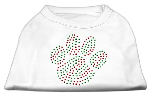 Holiday Paw Rhinestone Shirts White L (14)