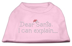 Dear Santa I Can Explain Rhinestone Shirts Light Pink XS (8)