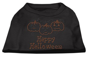 Happy Halloween Rhinestone Shirts Black XS