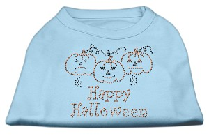 Happy Halloween Rhinestone Shirts Baby Blue XXXL