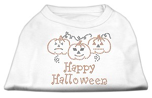 Happy Halloween Rhinestone Shirts White XXXL