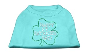 Happy St. Patrick's Day Rhinestone Shirts Aqua XXXL