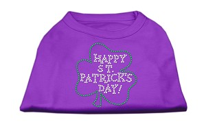 Happy St. Patrick's Day Rhinestone Shirts Purple XL