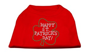 Happy St. Patrick's Day Rhinestone Shirts Red XS (8)