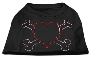 Heart and Crossbones Rhinestone Shirts Black XS (8)