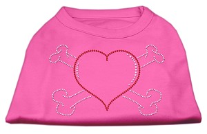 Heart and Crossbones Rhinestone Shirts Bright Pink XL (16)