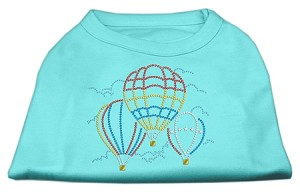 Hot Air Balloon Rhinestone Shirts Aqua M