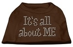 It's All About Me Rhinestone Shirts Brown XS