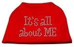 It's All About Me Rhinestone Shirts Red XS